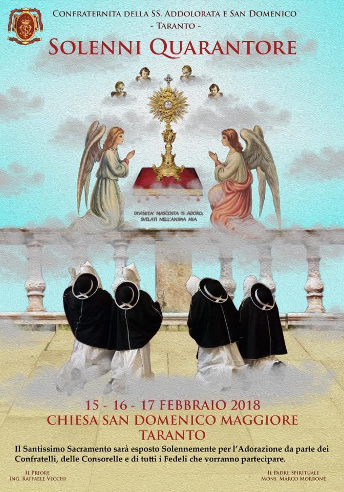 15, 16 e 17 Febbraio 2018: Solenni Quarantore in San Domenico a Taranto