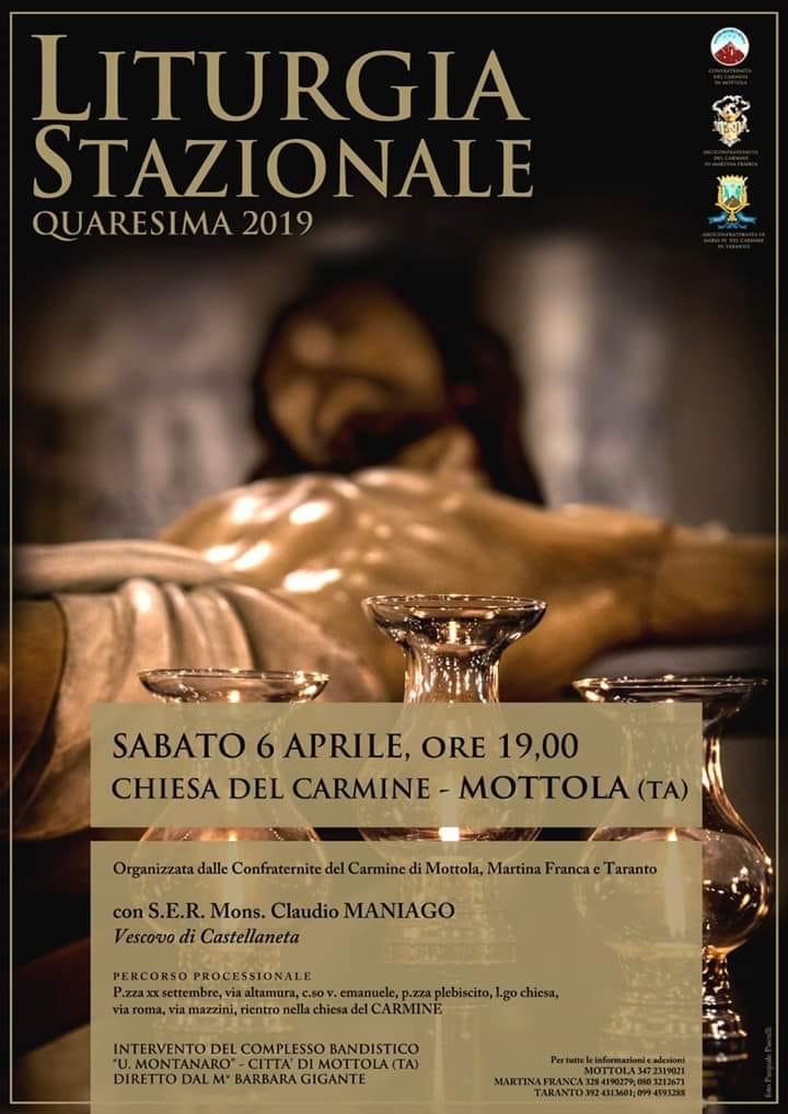 La suggestiva Liturgia Stazionale 2019: Le Confraternite del Carmine di Martina Franca, Mottola e Taranto
