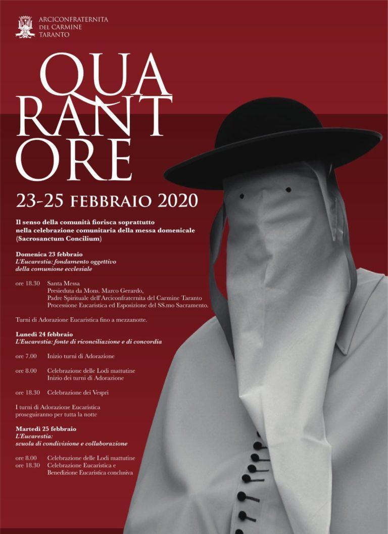 Quarantore, il manifesto e programma ufficiale. Settimana Santa Taranto 2020