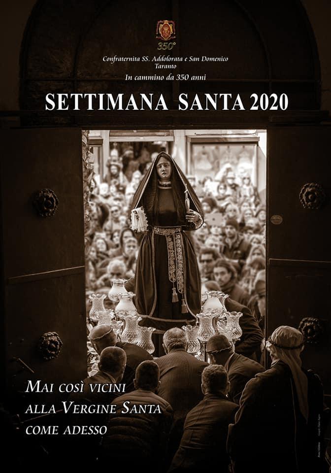 Settimana Santa 2020: il manifesto ufficiale della Confraternita della SS. Addolorata e San Domenico